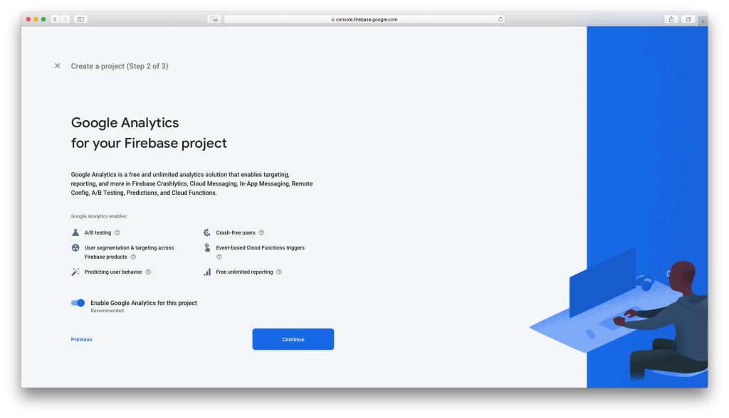 Enable Google Analytics in Firebase